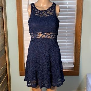 Blue Lace Cutout Dress Small
